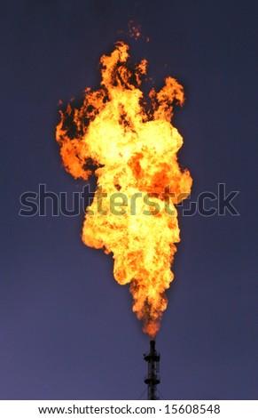 Huge torch on a dark sky. - stock photo