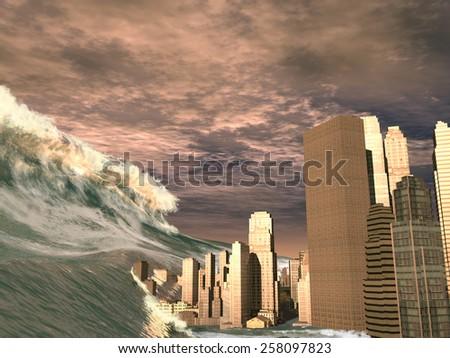 Huge tsunami sweeping city - stock photo