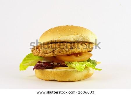 huge turkey burger - stock photo