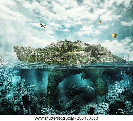 Huge turtle in ocean overgrown forests and mountains to the village and the castle in the shell floats like an island - stock photo
