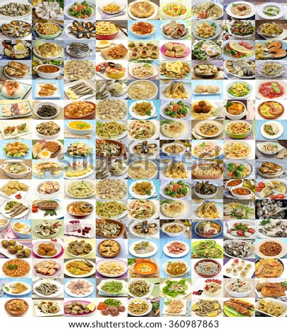 Huge variety of cooked dishes.Different food - stock photo