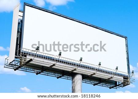 huge white blank billboard - stock photo