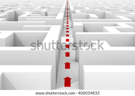huge white maze structure â?? red arrows showing shortcut through maze (3d illustration) - stock photo