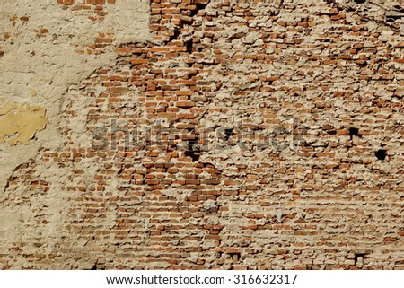 Huge White Red Brick Mortar Wall With Damaged Plaster Background Texture - stock photo