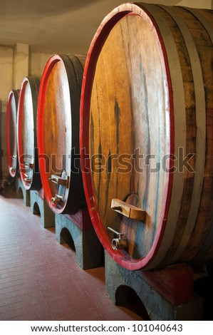 Huge wine barrels in northern Italy - stock photo