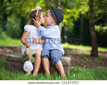 Hugging kids - stock photo