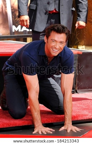 Hugh Jackman attending Hugh Jackman Hand & Footprint Ceremony At Grauman's Chinese Theatre, Grauman's Chinese Theatre, Los Angeles April 21, 2009 - stock photo