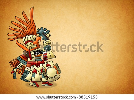 Huitzilopochtli - aztec - mexica - god of sun - stock photo