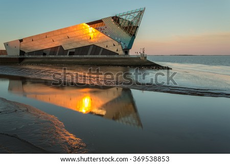 HULL, ENGLAND - JUNE 3: The Deep is a public aquarium situated at Sammy's Point, at the confluence of the River Hull and the Humber estuary on June 3 2013 in Hull, England. - stock photo