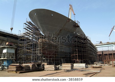 Hull repair dock. - stock photo