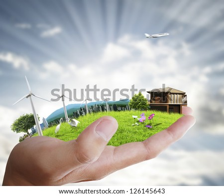 human a hand holding nature - stock photo