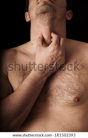 Human anatomy series: Adam's apple - stock photo