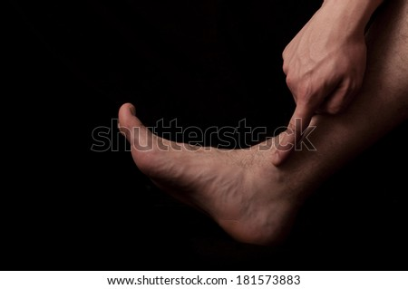 Human anatomy series: Malleolus  fibularis - stock photo
