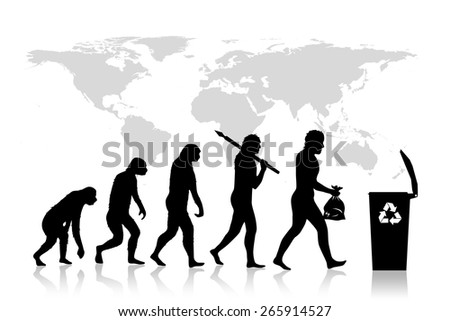 Human and Ecology evolution, map of earth, background. - stock photo