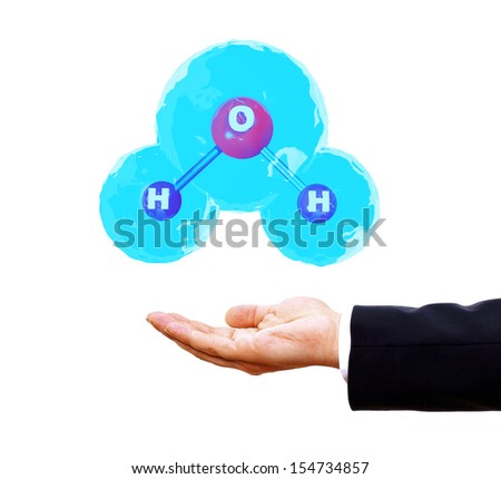 human and with 3d water molecule - stock photo