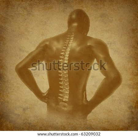 Human back spine spinal pain ancient grunge old medical parchment - stock photo