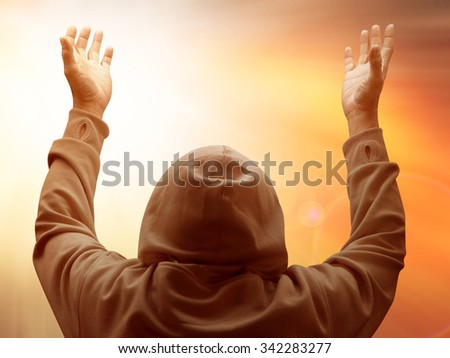 human bathing golden heaven light on sky Hope concept abstract blurred background from nature - stock photo