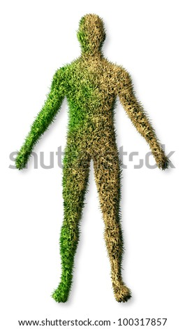 Human body disease and illness concept as a patch of green grass turf turning brown as a dying lawn as an icon of health care and medical needs of an aging elderly person for medicine care on white. - stock photo