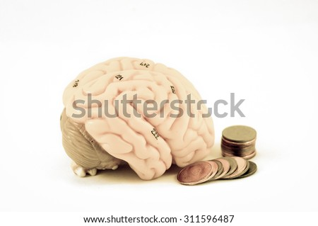 human brain anatomy with old color style - stock photo