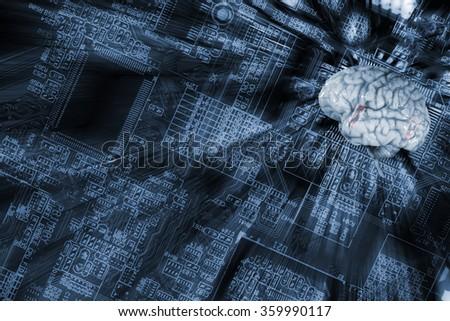 human brain and communication, artificial intelligence - stock photo