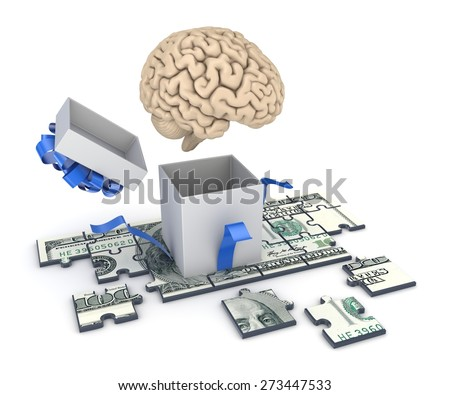 Human brain and dollar banknote made of puzzles. - stock photo