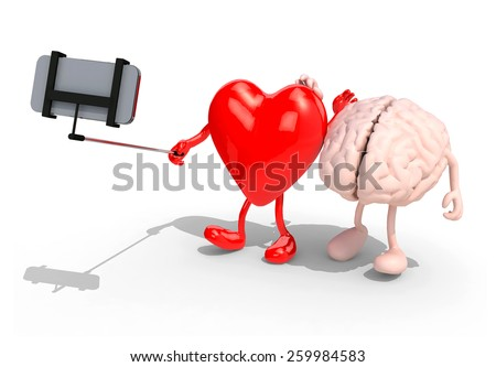 human brain and heart with arms and legs take a self portrait with her smart phone, 3d illustration - stock photo