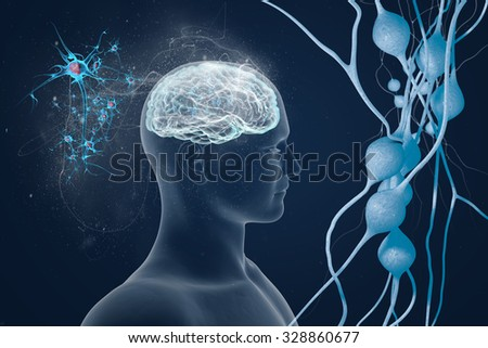 Human brain and its capabilities. Conceptual vision. - stock photo