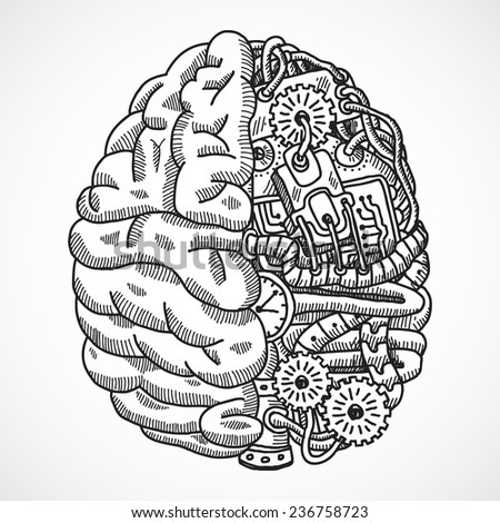 Human brain as engineering processing machine sketch concept  illustration - stock photo