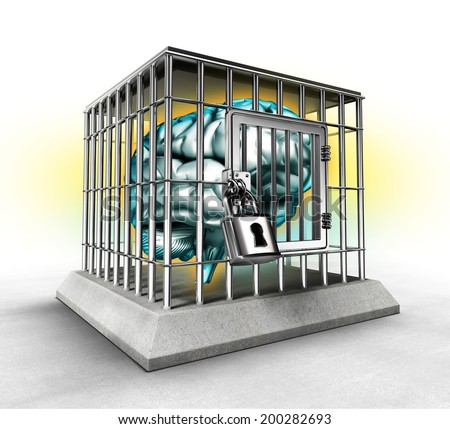 human brain in a cage, lack of free thinking concept - stock photo