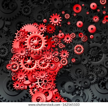 Human brain injury and neurological memory loss due to physical concussion trauma and head injury or alzheimer disease caused by aging with red gears and cogs in the shape of a thinking mind. - stock photo
