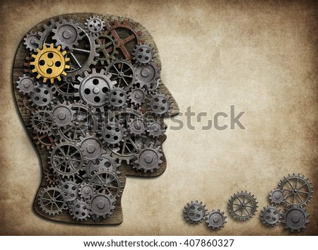 Human brain made from gears and cogs. 3D illustration. - stock photo
