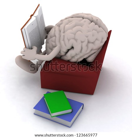 human brain organ reading a book from the couch, 3d illustration - stock photo