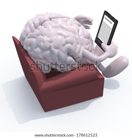 human brain organ reading a electronic book from the couch, 3d illustration - stock photo