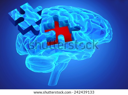Human brain research and memory loss as symbol of alzheimer's concept with missing pieces of the puzzle  - stock photo