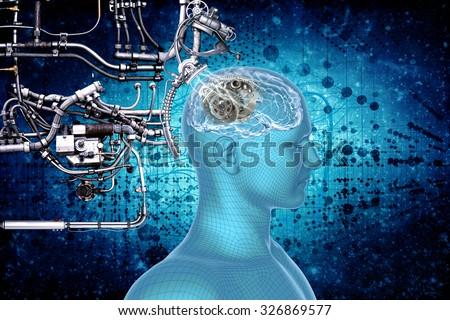 Human brain, technology and cybernetics. - stock photo