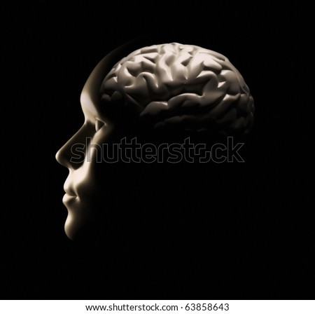 Human brain - this is a 3d render illustration - stock photo