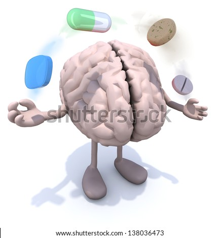 human brain with arms and legs and big pills in the air, 3d illustration - stock photo