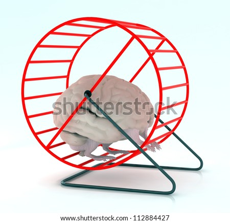 human brain with arms and legs in hamster wheel, 3d illustration - stock photo