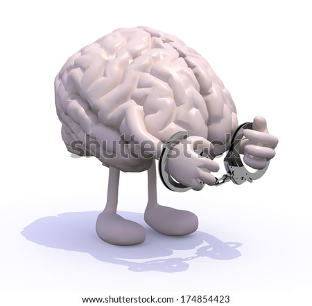 human brain with arms, legs and handcuffs on hands - stock photo