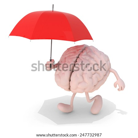 human brain with arms, legs and red umbrella on hand, 3d illustration - stock photo