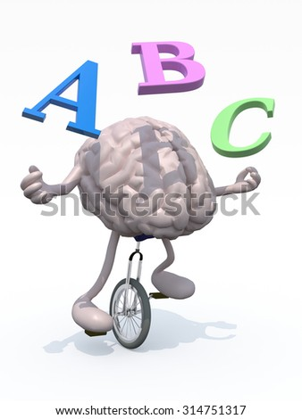 human brain with his arms and legs riding a unicycle and spear alphabet letters, 3d illustration - stock photo