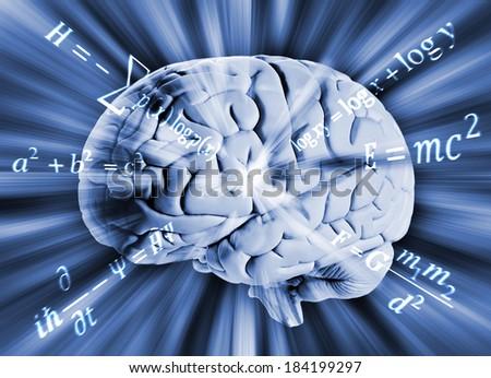 Human brain with math equations  - stock photo