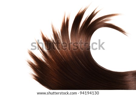 human brown hair on white isolated background - stock photo
