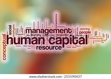 Human capital word cloud concept with abstract background - stock photo