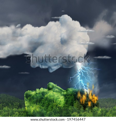 Human communication concept with a lightning storm cloud and burning forest mountain shaped as a head as a business metaphor for igniting inspiration symbol of ideas that can damage or hurt. - stock photo