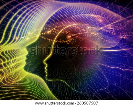 Human Curve series. Backdrop composed of human lines and abstract graphic elements and suitable for use in the projects on mind, human spirit, poetry, inspiration and philosophy - stock photo