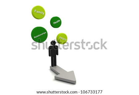 Human 3D render business plan bubble diagram floating and arrow direction concept green - stock photo