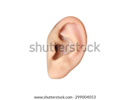 Human ear closeup isolated on white background - stock photo