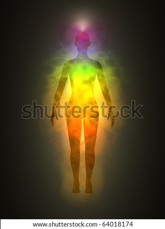 Human energy body, aura, chakra, energy - stock photo