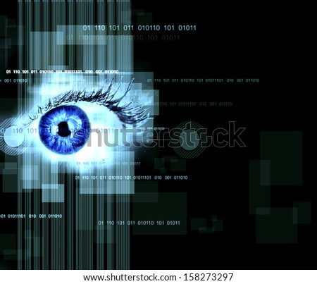 Human eye on technology design background. Cyberspace concept. - stock photo